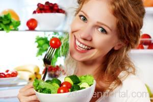 Woman Eats Healthy Food Vegetable Vegetarian Salad About Refrige