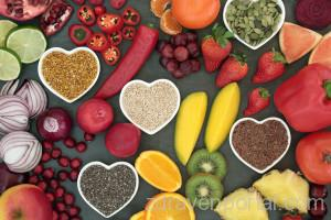Paleo diet health and super food of fruit, vegetables, nuts and